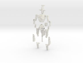 1/60 BattleMech Hatchetman in Parts in White Natural Versatile Plastic