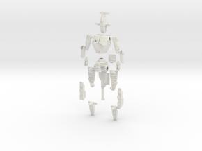 1/60 BattleMech Hatchetman in Parts in White Natural Versatile Plastic