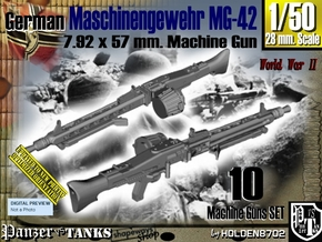 1/50 Machine Gun MG-42 Set001 in Smoothest Fine Detail Plastic