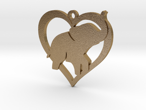 Cute Baby Elephant Pendant in Polished Gold Steel