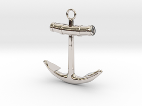 Anchor in Rhodium Plated Brass
