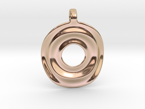 Disk shaped pendant in 14k Rose Gold Plated Brass