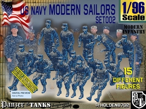 1/96 USN Modern Sailors Set002 in Smooth Fine Detail Plastic