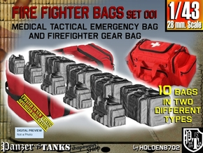 1/43 Med Tac Emerg-Firefight Gear Bag Set001 in Smooth Fine Detail Plastic