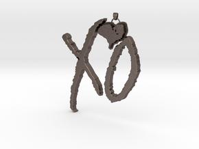 XO Pendant in Polished Bronzed Silver Steel