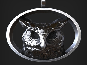 Great Horned Owl Pendant in Natural Silver