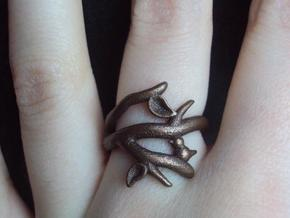 Bird on a Branch Ring in Polished Bronzed Silver Steel: 7 / 54