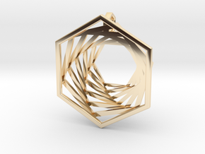 Spiralling Hexagons in 14k Gold Plated Brass