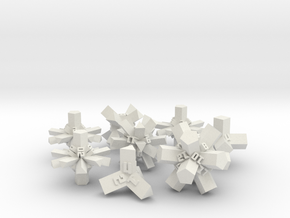 Brutalist Dice Set — Version 1 (8 pc.) in White Strong & Flexible