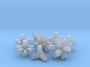Brutalist Dice Set — Version 1 (8 pc.) in Smooth Fine Detail Plastic