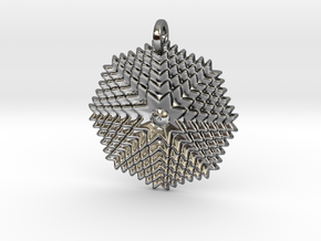 GridFlower Pendant in Fine Detail Polished Silver