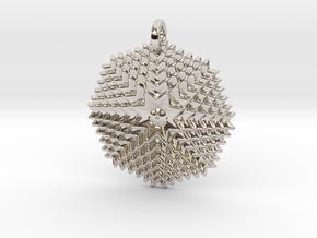 GridFlower Pendant in Rhodium Plated Brass