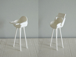 1:12 Highchair complete 1 in White Natural Versatile Plastic