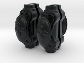 1:12 Window handles, oval, batch of 4 in Black Hi-Def Acrylate