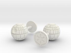 Death Star Cufflinks in White Natural Versatile Plastic
