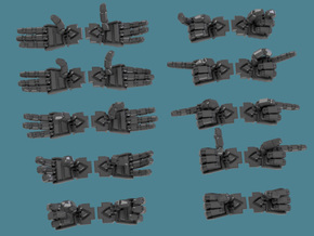 Extended Crisis Hands, 12 pair sets in Smooth Fine Detail Plastic: d3