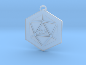 D20 Keychain or Necklace Pendant in Smooth Fine Detail Plastic