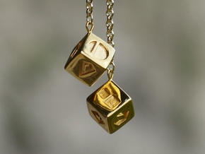 Smuggler's Lucky Sabacc Dice, Han Solo, Star Wars in 14k Gold Plated Brass: Medium