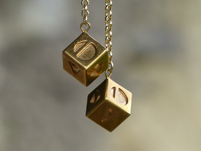 Smuggler's Lucky Sabacc Dice, Han Solo, Star Wars in Polished Brass: Medium