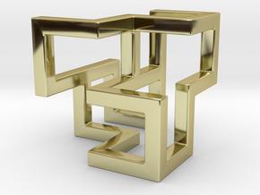 Cube Frame Pendant in 18k Gold
