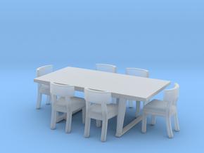 Miniature Arethusa Chair & Lucullo Table - Maxalto in Smooth Fine Detail Plastic: 1:24