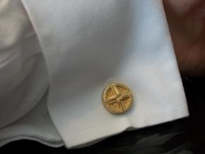 Shield Knot cuff links in Polished Gold Steel