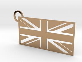 United Kingdom Flag Keychain in Polished Brass