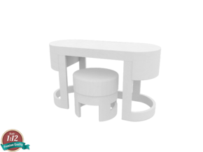 Miniature Turri Dressing Table & Pouf Dolce in White Strong & Flexible: 1:12