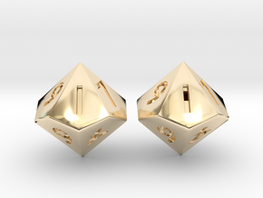 Weighted and Standard D10 Dice Set in 14k Gold Plated Brass