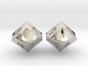 Weighted and Standard D10 Dice Set in Rhodium Plated Brass