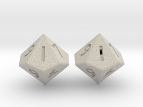 Weighted and Standard D10 Dice Set in Natural Sandstone