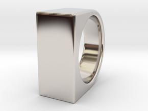 Signe Unique V - US 6  - Signet Ring in Rhodium Plated Brass