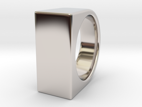 Signe Unique V - US 9 - Signet Ring in Rhodium Plated Brass