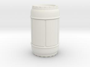 SciFi Barrel 50mm tall, 1/24 scale in White Premium Versatile Plastic