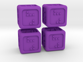 4 Braille Six-sided Dice Set (Curved Corners) in Purple Processed Versatile Plastic
