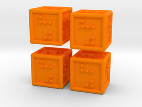 4 Braille Six-sided Dice Set in Orange Processed Versatile Plastic