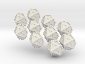 Set of 10 Braille Ten-sided Dice in White Natural Versatile Plastic