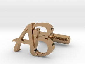 Pair of Cuff link with Initials AB in Polished Brass