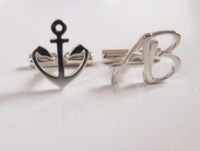 Pair of Cuff link with Initials AB in Fine Detail Polished Silver