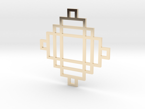 Grid 2 - Pendant in 14k Gold Plated Brass