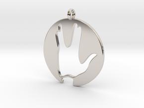 Hi spock - Vulcan salute in Rhodium Plated Brass