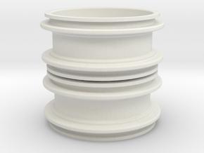 Twin Felge Rim for 1:14 Tamiya / Lego Tire 62.4 x  in White Natural Versatile Plastic