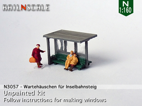 Waiting shelter for island platform (N 1:160) in Smooth Fine Detail Plastic