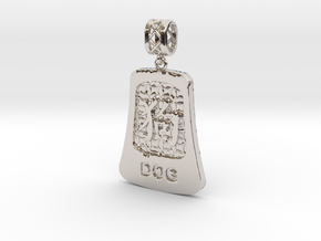 Chinese 12 animals pendant with bail - the dog in Rhodium Plated Brass