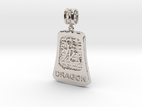 Chinese 12 animals pendant with bail - thedragon in Rhodium Plated Brass