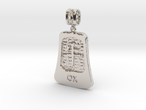 Chinese 12 animals pendant with bail - theox in Rhodium Plated Brass