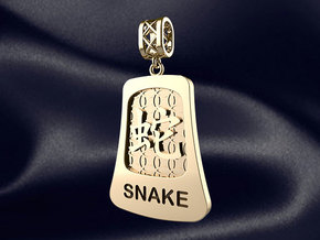 Chinese 12 animals pendant with bail - thesnake in 14k Gold Plated Brass