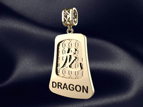 Chinese 12 animals pendant with bail - thedragon in 14k Gold Plated Brass