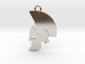 Spartan Helmet Pendant/Keychain in Rhodium Plated Brass