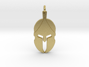 Spartan Helmet Pendant/Keychain in Natural Brass